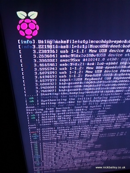 Raspberry Pi first boot. © Nick Bailey