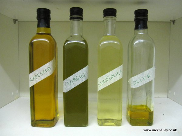 Aldi Rapeseed Oil bottles. © Nick Bailey